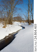 Купить «Весенний пейзаж с рекой», фото № 24864469, снято 28 февраля 2016 г. (c) Елена Коромыслова / Фотобанк Лори