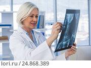 Купить «Female doctor examining x-ray report», фото № 24868389, снято 25 августа 2016 г. (c) Wavebreak Media / Фотобанк Лори