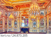 Купить «FONTAINEBLEAU, FRANCE - JULY 09, 2016 : Fontainebleau Palace interiors. The Council Chamber. Chateau was one of the main palaces of French kings.», фото № 24873205, снято 9 июля 2016 г. (c) Vitas / Фотобанк Лори