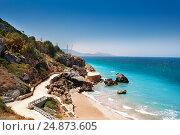 Купить «Beautiful view of Rhodes sandy beaches, Greece», фото № 24873605, снято 26 июля 2015 г. (c) Сергей Новиков / Фотобанк Лори