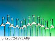 Купить «Dozen crystal wine bottles standing in line», фото № 24873689, снято 5 января 2016 г. (c) Сергей Новиков / Фотобанк Лори
