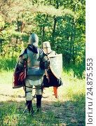 Купить «knights in armor is fighting at forest», фото № 24875553, снято 5 июня 2010 г. (c) Яков Филимонов / Фотобанк Лори