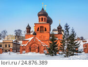Купить «Old Believers Pokrovsky Cathedral of red brick color on a blue sky on a winter day in Kazan», фото № 24876389, снято 8 марта 2012 г. (c) Baturina Yuliya / Фотобанк Лори