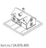 Drawing of private house. Стоковая иллюстрация, иллюстратор Алексей Плескач / Фотобанк Лори