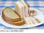 Купить «Соленое сало с прослойкой, чёрный хлеб и чеснок на тарелке», фото № 24882681, снято 11 января 2017 г. (c) Елена Коромыслова / Фотобанк Лори