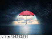 Купить «Color umbrella in sky . Mixed media», фото № 24882881, снято 16 мая 2015 г. (c) Sergey Nivens / Фотобанк Лори