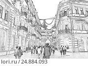 Торговая пешеходная улица Низами с яркой ночной подсветкой в центре Баку. Азербайджан, иллюстрация № 24884093 (c) Евгений Ткачёв / Фотобанк Лори