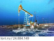 Купить «Ночной вид на нефтяную качалку», фото № 24884149, снято 24 сентября 2015 г. (c) Евгений Ткачёв / Фотобанк Лори