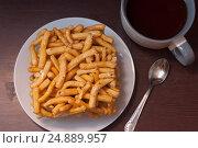 Tatar and Bashkir dish - chack-chack. Sweet dessrt, top view. Стоковое фото, фотограф Евгений Пидеркин / Фотобанк Лори