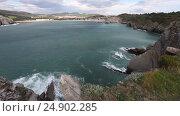 Купить «Summer Gorliz town coastline (Spain).», видеоролик № 24902285, снято 10 января 2017 г. (c) Юрий Брыкайло / Фотобанк Лори