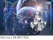 Купить «Composite image of graphic image of businessman with robotic arm 3d», фото № 24907933, снято 24 марта 2019 г. (c) Wavebreak Media / Фотобанк Лори