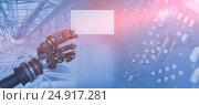 Купить «Composite image of computer generated image of robotic arm holding white placard 3d», фото № 24917281, снято 20 марта 2019 г. (c) Wavebreak Media / Фотобанк Лори