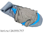 Купить «close-up of a sleeping bag is very warm for sleeping outdoors isolated», фото № 24919717, снято 23 апреля 2016 г. (c) Константин Лабунский / Фотобанк Лори