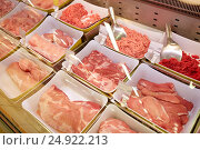 Купить «meat in bowls at grocery stall», фото № 24922213, снято 2 ноября 2016 г. (c) Syda Productions / Фотобанк Лори