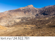 View on the Muktinath village in lower Mustang, Nepal (2016 год). Стоковое фото, фотограф Михаил Пряхин / Фотобанк Лори
