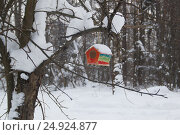 Купить «Red barn birdhouse snow covered in winter forest», фото № 24924877, снято 21 января 2017 г. (c) Константин Шишкин / Фотобанк Лори