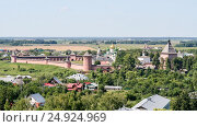 View on the Saviour Monastery of St. Euthymius from the bell tower, Russia, Suzdal (2014 год). Стоковое фото, фотограф Денис Фоломеев / Фотобанк Лори