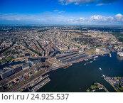 Купить «City aerial view over Amsterdam», фото № 24925537, снято 10 августа 2016 г. (c) Андрей Армягов / Фотобанк Лори
