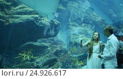 The guy and the girl are delighted by different fishes floating in an underground aquarium, видеоролик № 24926617, снято 7 января 2017 г. (c) Mikhail Davidovich / Фотобанк Лори
