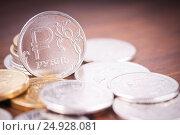 Купить «Brilliant modern coins. Rubles.», фото № 24928081, снято 10 января 2017 г. (c) Сергей Лабутин / Фотобанк Лори