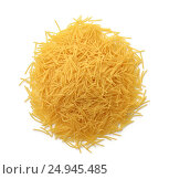Купить «Top view of uncooked vermicelli pasta», фото № 24945485, снято 6 декабря 2016 г. (c) Антон Стариков / Фотобанк Лори