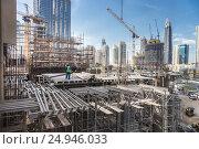 Купить «Modern building constraction site works», фото № 24946033, снято 31 января 2016 г. (c) Matej Kastelic / Фотобанк Лори