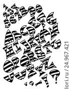 Black striped alphabet letters on white background. Стоковое фото, фотограф Екатерина Голубкова / Фотобанк Лори