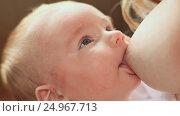 Купить «Baby feeds on mom's breasts», видеоролик № 24967713, снято 20 января 2017 г. (c) Mikhail Davidovich / Фотобанк Лори