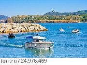 Купить «ARGELES SUR MER, FRANCE - JULY 9, 2016: Port Argeles-sur-Mer in Pyrenees-Orientales department, Languedoc-Roussillon region, in southern France», фото № 24976469, снято 9 июля 2016 г. (c) Papoyan Irina / Фотобанк Лори