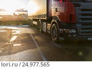 Купить «close up of truck on parking», фото № 24977565, снято 2 декабря 2015 г. (c) Syda Productions / Фотобанк Лори
