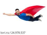 Купить «happy man in red superhero cape flying on air», фото № 24978537, снято 3 декабря 2016 г. (c) Syda Productions / Фотобанк Лори