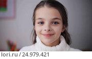 Купить «happy smiling beautiful girl in sweater at home», видеоролик № 24979421, снято 10 ноября 2016 г. (c) Syda Productions / Фотобанк Лори