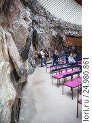 Купить «Каменные стены лютеранской церкви Темппелиаукио в Тёёлё, Хельсинки. Храм, вырубленный в скале. Финляндия», фото № 24980861, снято 17 сентября 2016 г. (c) Кекяляйнен Андрей / Фотобанк Лори