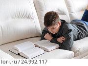 Купить «Подросток читает книгу, лежа на диване в комнате», фото № 24992117, снято 22 января 2017 г. (c) Володина Ольга / Фотобанк Лори