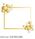 Золотая рамка с сердцами на белом фоне. Стоковая иллюстрация, иллюстратор Римма Тельнова / Фотобанк Лори
