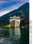 Купить «Cruise Liners On Geiranger fjord, Norway», фото № 24995793, снято 20 июля 2016 г. (c) Андрей Армягов / Фотобанк Лори
