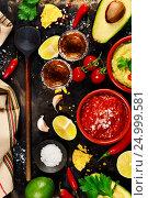 Купить «Mexican food and tequila shots», фото № 24999581, снято 6 декабря 2016 г. (c) Наталия Кленова / Фотобанк Лори