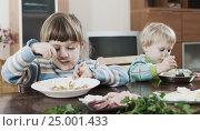 Купить «Two siblings eating food together», фото № 25001433, снято 7 июля 2020 г. (c) Яков Филимонов / Фотобанк Лори