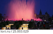 Купить «Evening view at colorful vocal fountain», видеоролик № 25003029, снято 24 июля 2016 г. (c) Яков Филимонов / Фотобанк Лори