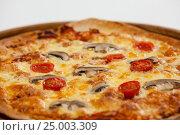 Купить «Delicious italian pizza served on pizza tray», фото № 25003309, снято 30 сентября 2016 г. (c) Wavebreak Media / Фотобанк Лори