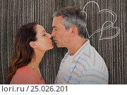 Купить «Composite image of profile view of couple about to kiss», фото № 25026201, снято 12 декабря 2018 г. (c) Wavebreak Media / Фотобанк Лори