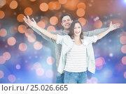 Купить «Composite image of couple embracing with arms outstretched», фото № 25026665, снято 25 марта 2019 г. (c) Wavebreak Media / Фотобанк Лори