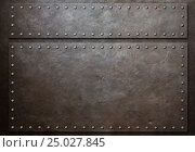 Купить «Two stained steel plates with rivets over metal background», иллюстрация № 25027845 (c) Андрей Кузьмин / Фотобанк Лори