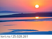 Купить «The landscape in the evening light on the shore of a salt lake in Crimea», фото № 25028261, снято 9 сентября 2016 г. (c) Анна Костенко / Фотобанк Лори