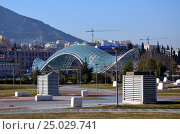 Купить «Современная архитектура Тбилиси, Грузия. Вид на Парк Европы (Rake Park)  и Мост Мира», фото № 25029741, снято 23 декабря 2016 г. (c) Светлана Колобова / Фотобанк Лори