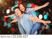Купить «Composite image of portrait of happy couple with arms outstretched», фото № 25036037, снято 19 января 2019 г. (c) Wavebreak Media / Фотобанк Лори
