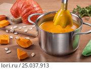 Preparation of puree of pumpkin soup. Стоковое фото, фотограф Анастасия Богатова / Фотобанк Лори
