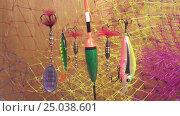 Купить «Float and baits on a fishing net background», видеоролик № 25038601, снято 31 января 2010 г. (c) Куликов Константин / Фотобанк Лори