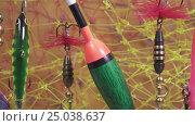 Купить «Float and baits on a fishing net background», видеоролик № 25038637, снято 31 января 2010 г. (c) Куликов Константин / Фотобанк Лори