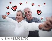 Купить «Portrait of senior couple standing with arms outstretched», фото № 25038765, снято 25 марта 2019 г. (c) Wavebreak Media / Фотобанк Лори